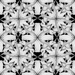 Intricate abstract black and white floral vector seamless patter