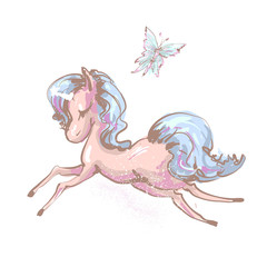 Beautiful little unicorn flying with butterfly vector illustration print