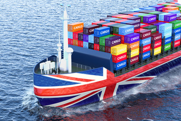 British freighter ship with cargo containers sailing in ocean, 3D rendering