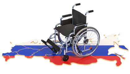 Disability in Russia concept, 3D rendering