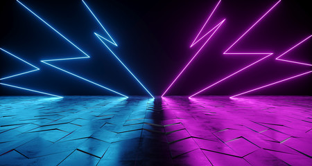 Futuristic Sci-Fi Thunderbolt Shaped Neon Tube Vibrant Purple And Blue Glowing Lights On Reflective Tilted Rough Concrete Surface In Dark Room Empty Space 3D Rendering