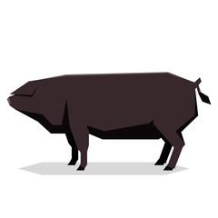 Flat geometric Large Black pig