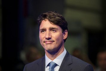 Canada's Prime Minister Justin Trudeau answers questions from the media in Montreal, Quebec