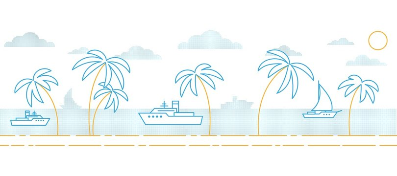 A simple minimalistic seascape with palm trees by the sea and ships