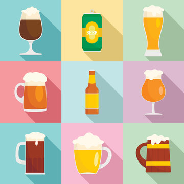 Beer bottles glass craft wine mug icons set. Flat illustration of 9 beer bottles glass craft wine mug vector icons for web