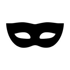 Simple, flat, black masquerade mask icon/illustration. Isolated on white