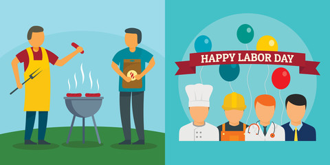 Labor Day workers celebration banner concept set. Flat illustration of 2 Labor Day workers celebration vector banner concepts for web