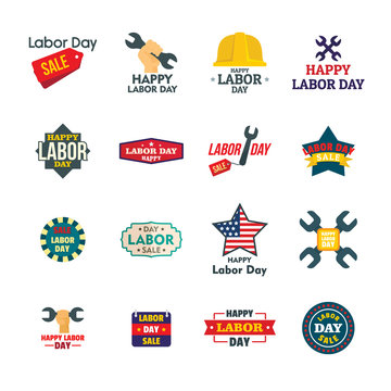 Labor Day workers sale celebration logotype icons set. Flat illustration of 16 Labor Day workers sale celebration vector logo icons for web