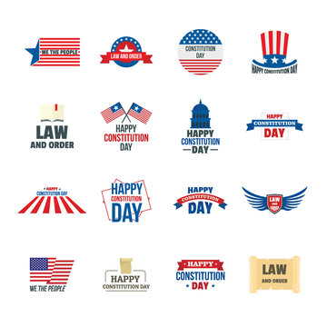 Constitution Day USA president patriotic america flag logotype icons set. Flat illustration of 16 Constitution Day USA president patriotic america flag vector logo icons for web