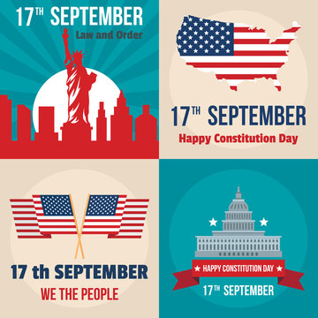 Constitution Day USA president patriotic america flag banner concept set. Flat illustration of 4 Constitution Day USA president patriotic america flag vector banner concepts for web