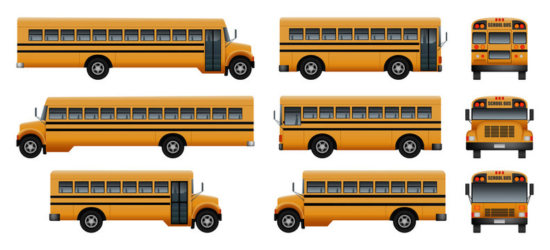 School bus back kids icons set. Realistic illustration of 9 school bus back kids vector icons for web