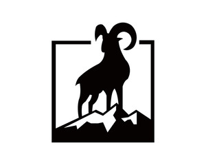 Silhouette of a mountain mammal goat animal .