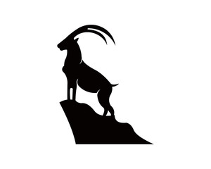 Silhouette of a mountain mammal goat animal .