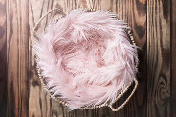 Pink Faux Fur Newborn Digital Background
