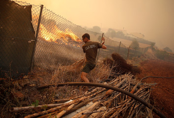 A man helps to put out a fire in Pedreira, near Silves