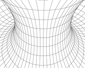 Tunnel or wormhole. Digital 3d wireframe tunnel. 3D tunnel grid. Network cyber technology. Surrealism. Background abstract vector image