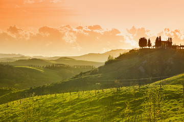 Landscape near Montaione at sunset, Tuscany, Italy