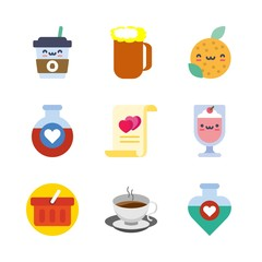 drink vector icons set. coffee cup, orange, potion and marriage in this set