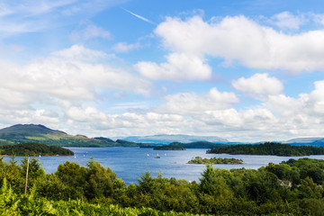 The view from Glen Striddle hill to Loch Lomond, Scotland, UK