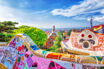Barcelona, Spain. Gorgeous colorful view of Park Guell - the creation of great architect Antonio Gaudi. UNESCO world heritage site. Wall mural
