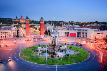 Barcelona, Spain. Majestic view on Placa Espanya and Montjuic Hill with National Art Museum of Catalonia.