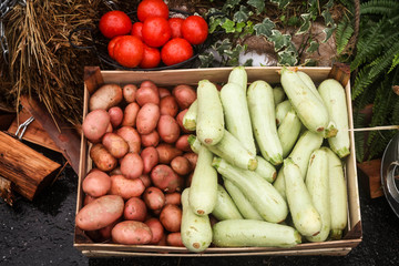 Zucchini, potatoes and tomatoes at the farmer's market