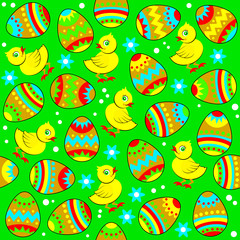 Seamless pattern ornament with cute chickens and Easter eggs. Vector cartoon image.
