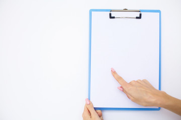 Blank Folder with White Paper. Hand that Holding Folder and Handle on White Background. Copyspace. Place for Text