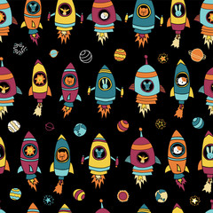 Space animals on black seamless vector background. Planets, stars. Astronaut mouse, cat, giraffe, dog, lion in rocket ships. Space themed kids pattern. For children, paper, fabric, back to school.