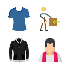 man vector icons set. stick man, priest, leather jacket and t shirt in this set