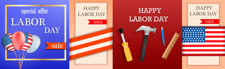 Labor Day sale celebration american banner concept set. Realistic illustration of 4 Labor Day sale celebration american vector banner concepts for web