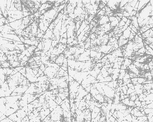 Grunge grey texture on white background. The effect of scratched, vintage paper. Vector illustration overlay for your design.