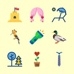 nature icons set. warthog, leg, bird and colorful graphic works