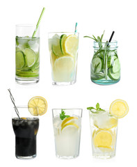 Set with fresh lemonade on white background