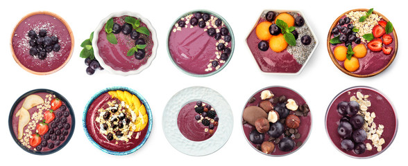 Wall Murals Dessert Set with delicious acai smoothie on white background, top view