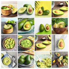 Set with delicious fresh avocado on table