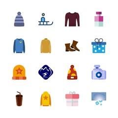 16 winter icons set