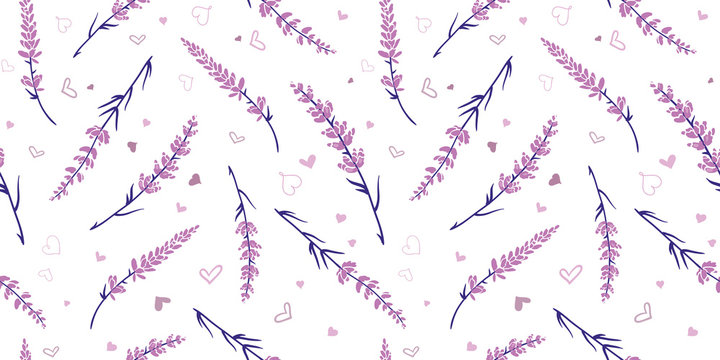 Light purple lavender repeat pattern design. Great for springtime modern fabric, wallpaper, backgrounds, invitations, packaging design projects. Surface pattern design.