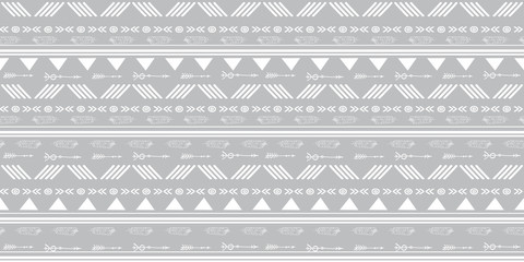 Tribal silver grey seamless repeat pattern. Great for folk modern wallpaper, backgrounds, invitations, packaging design projects. Surface pattern design.