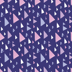 Purple pink tribal triangles repeat pattern design. Great for folk modern wallpaper, backgrounds, invitations, packaging design projects. Surface pattern design.