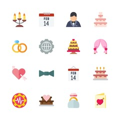 wedding vector icons set. valentines day, bow tie, candelabra and settings in this set