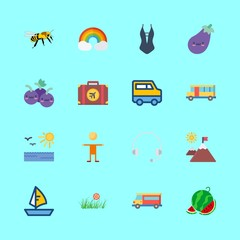 summer vector icons set. sailboat, grapes, eggplant and watermelon in this set