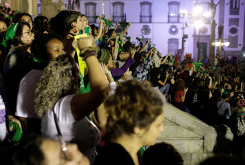 Abortion rights activists attend a demonstration for legalizing abortion in Latin America in Rio de Janeiro