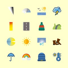 weather icons set. textile, design, electricity and flake graphic works