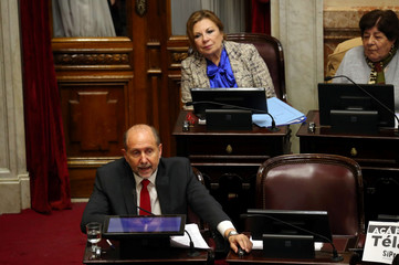 Senator Perotti speaks during a debate session on a bill that would legalize abortion, in Buenos Aires