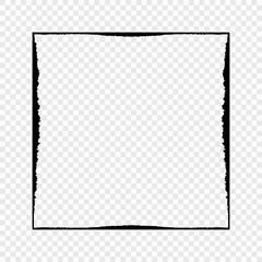 Grunge black frame on transparent background. Vector element for your design.