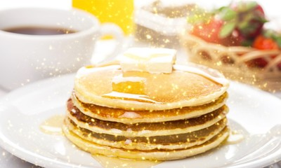 Stack of Small pancakes on plate