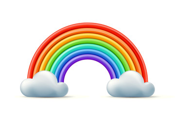 Vector multicolor 3d style illustration of rainbow and two clouds. Plasticine or clay abstract background or design element.