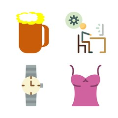 man vector icons set. beer, sleeveless, stick man and watch in this set