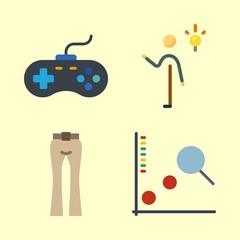 man icons set. controller, pc, science and information graphic works